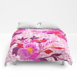 Pink Spring Flowers Mosaic Terrazzo Comforters
