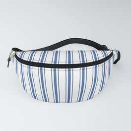Mattress Ticking Wide Striped Pattern in Dark Blue and White Fanny Pack