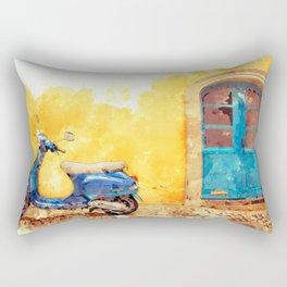 Blue Vespa Italian Moped Scooter Rectangular Pillow