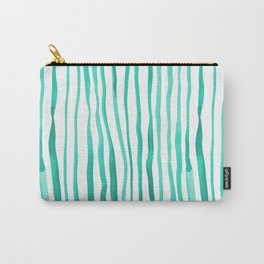 Vertical watercolor lines - aqua Carry-All Pouch