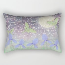 luna moths around the moon with starlit irises Rectangular Pillow
