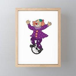 Clown Riding on a Unicycle Framed Mini Art Print
