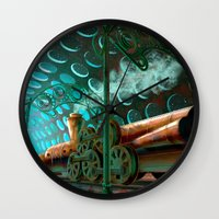 steam punk Wall Clocks featuring Steam Train Punk by Goodson Productions