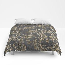 Elegant faux gold gray vintage marble floral Comforters
