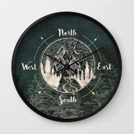 Mountains Compass Milky Way Woods Gold Wall Clock