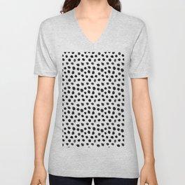 Black & White Dalmatian Pattern Unisex V-Neck
