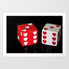Dice Hearts Art Print