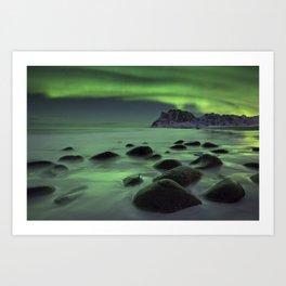 Aurora borealis over a beach on the Lofoten in Norway Art Print