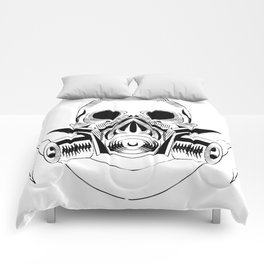 skull wearing a gas mask. vector with signature Comforters