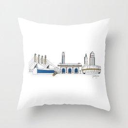 Kansas City Skyline Illustration in KC Royals Colors Throw Pillow