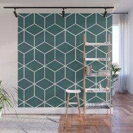 Cube Geometric 03 Teal Wall Mural