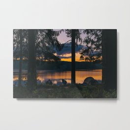 Camping by the Lake Metal Print