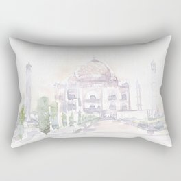 Watercolor landscape illustration_India - Taj Mahal Rectangular Pillow