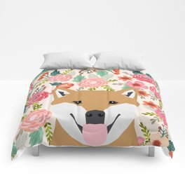 Shiba Inu florals spring summer bright girly hipster dog meme shiba ink puppy pet portraits Comforters