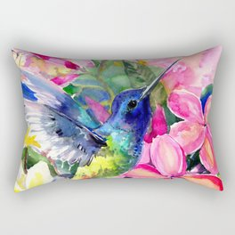 Hummingbird and Plumeria Florwers Tropical bright colored foliage floral Hawaiian Flowers Rectangular Pillow