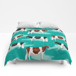 Red & Black & White Holsteins // Green Comforters