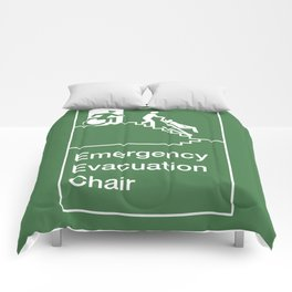 Accessible Means of Egress Icon, Emergency Evacuation Chair Sign Comforters