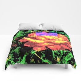 Digital Rose Against Vibrant Green Leaves Comforters