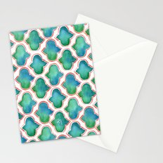 Blue/Green Moroccan Pattern Stationery Cards