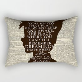 Peter Pan Over Vintage Dictionary Page - That Place Rectangular Pillow