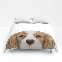 Cavalier King Charles Spaniel Dog illustration original painting print Comforters
