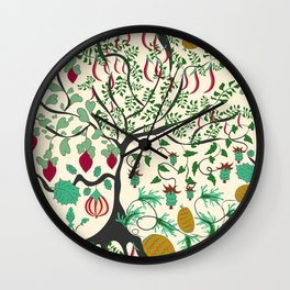 Fairy seamless pattern garden with plants, tree and flowers Wall Clock