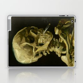 Skull of a Skeleton with Burning Cigarette Painting by Vincent van Gogh Laptop & iPad Skin