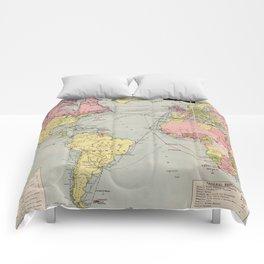 Vintage World Mail Correspondence Map (1917) Comforters