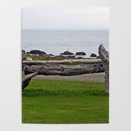 Driftwood Fence and the Sea Poster