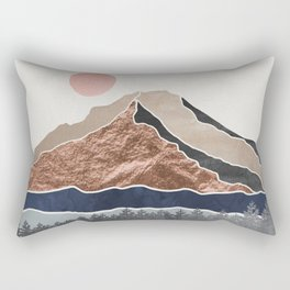 Mount Hood // Daylight Art Print Oregon Stratovolcano Rose Gold Silver Blue Cream Black Mountain Rectangular Pillow