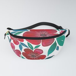 Red Flowers watercolor Fanny Pack