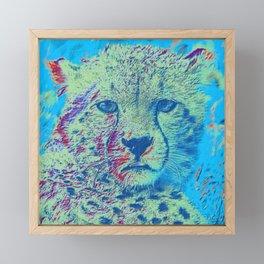 Cheetah colorful version Framed Mini Art Print