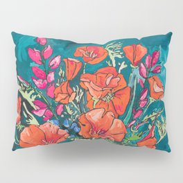 California Poppy and Wildflower Bouquet on Emerald with Tigers Still Life Painting Pillow Sham