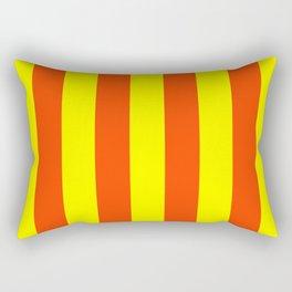 Bright Neon Orange and Yellow Vertical Cabana Tent Stripes Rectangular Pillow