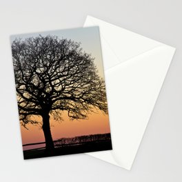 Lonely Tree Sunset Silhouette Stationery Cards