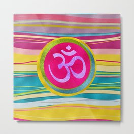 Colorfull Glitter OM symbol on  Pattern Metal Print