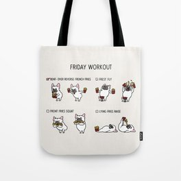 Friday Workout with French Bulldog Tote Bag