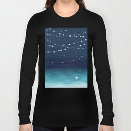 Garlands of stars, watercolor teal ocean Long Sleeve T-shirt