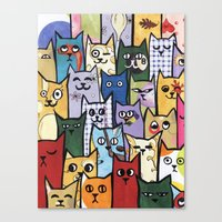 a lot of cats Canvas Prints featuring Cats a Lot by grrrenadine