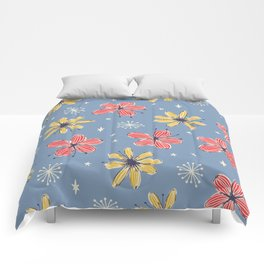 yellow and red flowers on blue Comforters