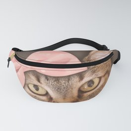 Brown Tabby Cat with Soft Pink Bow Fanny Pack