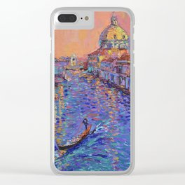 Sunset Over The Grand Canal In Venice -palette knife urban city landscape by Adriana Dziuba Clear iPhone Case