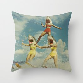On Evil Beach - Sharks Throw Pillow