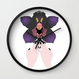 Black Orchid Wall Clock