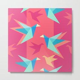 Vivid Pink Paper Cranes Metal Print