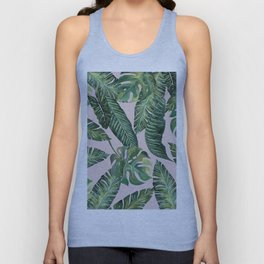 Jungle Leaves, Banana, Monstera Pink #society6 Unisex Tank Top