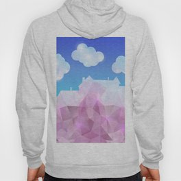 Abstract polygonal house with clouds and background Hoody