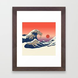 The Great Wave of Shiba Inu Framed Art Print