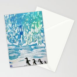 Penguin Family on Thin Ice Stationery Cards
