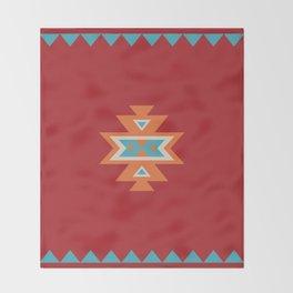 Navajo Aztec Pattern Orange Turquoise on Red Throw Blanket